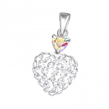 Doulble Heart - 925 Sterling Silver Pendants with Zirconia stones A4S37101