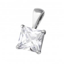 Square - 925 Sterling Silver Pendants with Zirconia stones A4S38058