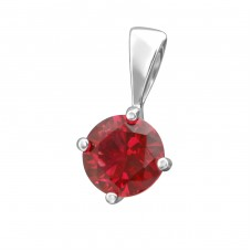 Round 6mm - 925 Sterling Silver Pendants with Zirconia stones A4S38452