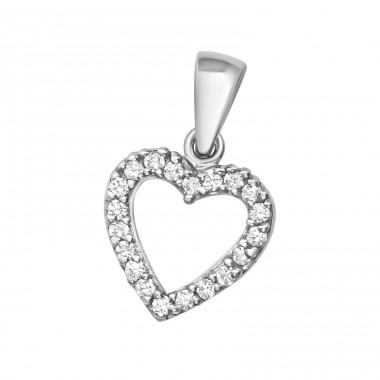 Heart - 925 Sterling Silver Pendants with Zirconia stones A4S39070