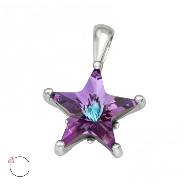 Swarovski Star - 925 Sterling Silver Pendants With Zirconia Stones A4S40686
