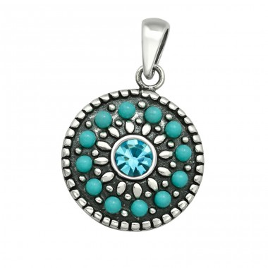 Mosaic - 925 Sterling Silver Pendants with Zirconia stones A4S40926