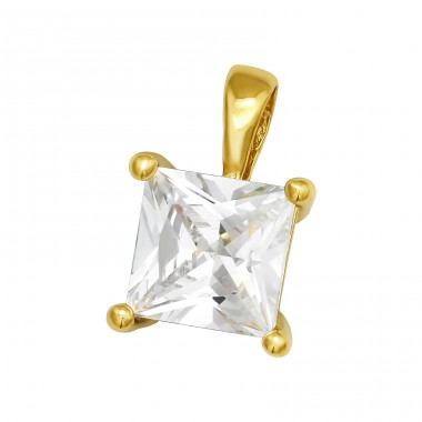 Square - 925 Sterling Silver Pendants with Zirconia stones A4S40994