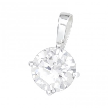 Round Zirconia - 925 Sterling Silver Pendants With Zirconia Stones A4S41031