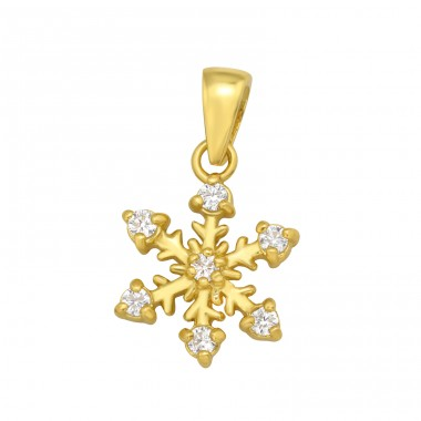 Golden Snowflake with zirconia - 925 Sterling Silver Pendants With Zirconia Stones A4S42099
