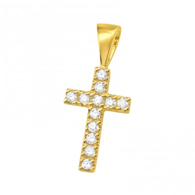 Golden Cross with shinny zirconia - 925 Sterling Silver Pendants With Zirconia Stones A4S42100