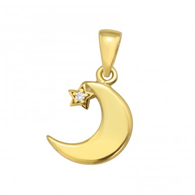 Golden Crescent Moon - 925 Sterling Silver Pendants With Zirconia Stones A4S42101