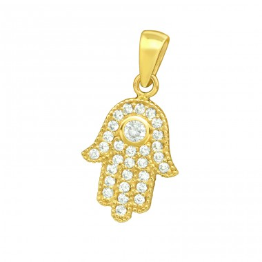 Golden Hamsa with stones - 925 Sterling Silver Pendants With Zirconia Stones A4S42102