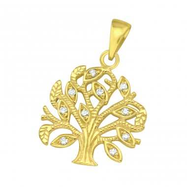 Golden Tree Of Life - 925 Sterling Silver Pendants With Zirconia Stones A4S42104