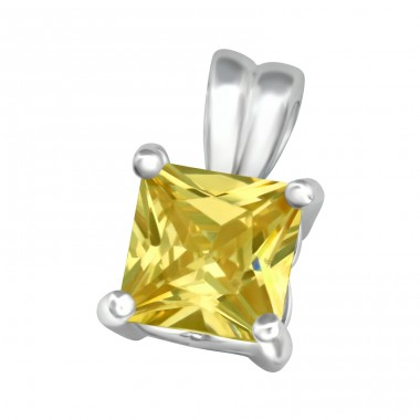 Square - 925 Sterling Silver Pendants with Zirconia stones A4S5109