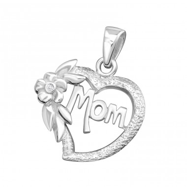 Heart Mom - 925 Sterling Silver Pendants with Zirconia stones A4S5393