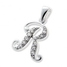 Initial R - 925 Sterling Silver Pendants with Zirconia stones A4S7556