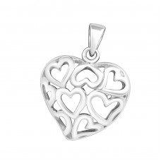 Hearted Heart - 925 Sterling Silver Basic Pendants A4S1569