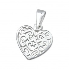 Filigree Heart - 925 Sterling Silver Basic Pendants A4S2953