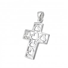 Hearted Cross - 925 Sterling Silver Basic Pendants A4S2992