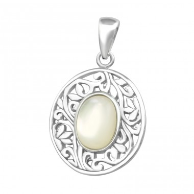 Oval - 925 Sterling Silver Basic Pendants A4S36738