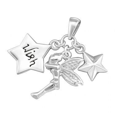 Angel With 2 Stars - 925 Sterling Silver Basic Pendants A4S8007