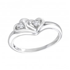 Hearts - 925 Sterling Silver Rings with Zirconia stones A4S15061