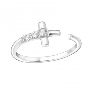 Cross - 925 Sterling Silver Rings with Zirconia stones A4S15063