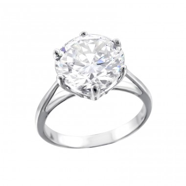 Round - 925 Sterling Silver Rings with Zirconia stones A4S15418