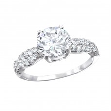 Round - 925 Sterling Silver Rings with Zirconia stones A4S15440
