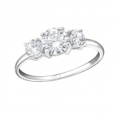 Round - 925 Sterling Silver Rings with Zirconia stones A4S15441