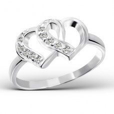 Hearts - 925 Sterling Silver Rings with Zirconia stones A4S15445