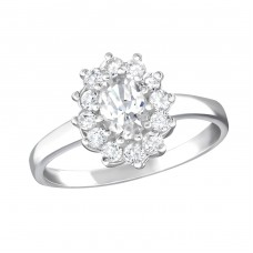 Flower - 925 Sterling Silver Rings with Zirconia stones A4S15455