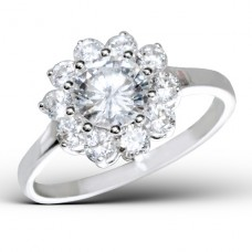Flower - 925 Sterling Silver Rings with Zirconia stones A4S15456