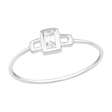 Rectangle - 925 Sterling Silver Rings with Zirconia stones A4S16344