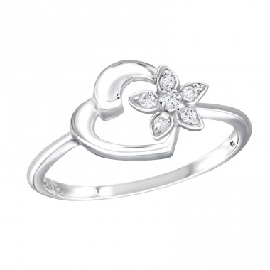 Heart - 925 Sterling Silver Rings with Zirconia stones A4S18953