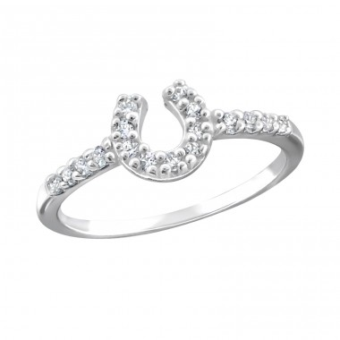 Horseshoe - 925 Sterling Silver Rings with Zirconia stones A4S18954