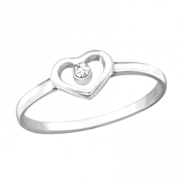 Heart - 925 Sterling Silver Rings with Zirconia stones A4S19425