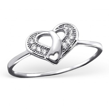 Heart - 925 Sterling Silver Rings with Zirconia stones A4S23438