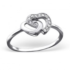 Double Heart - 925 Sterling Silver Rings with Zirconia stones A4S23443
