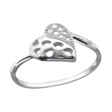 Heart - 925 Sterling Silver Rings with Zirconia stones A4S23444
