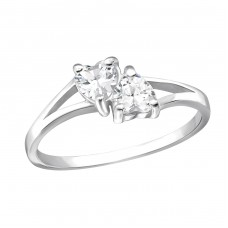 Double Heart - 925 Sterling Silver Rings with Zirconia stones A4S23482