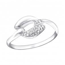 Leaf - 925 Sterling Silver Rings with Zirconia stones A4S23814