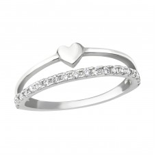 Heart - 925 Sterling Silver Rings with Zirconia stones A4S25246
