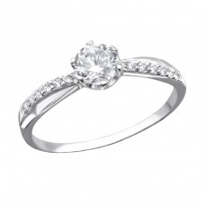 Round - 925 Sterling Silver Rings with Zirconia stones A4S25251