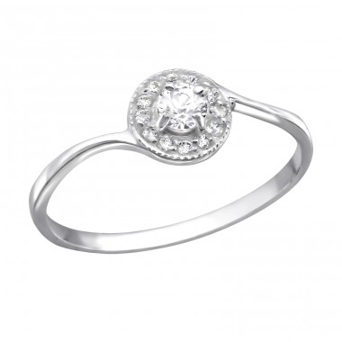 Round - 925 Sterling Silver Rings with Zirconia stones A4S25255