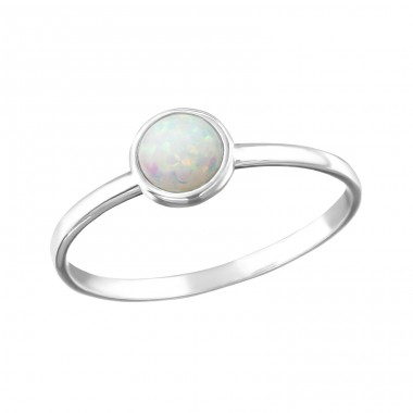 Round Opal - 925 Sterling Silver Rings with Zirconia stones A4S25319