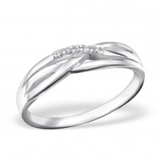 Twisted - 925 Sterling Silver Rings with Zirconia stones A4S26338
