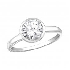 Round - 925 Sterling Silver Rings with Zirconia stones A4S27272