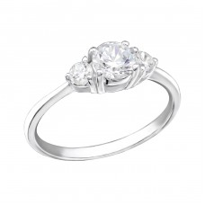 Rounds - 925 Sterling Silver Rings with Zirconia stones A4S27274