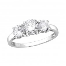 Rounds - 925 Sterling Silver Rings with Zirconia stones A4S27276
