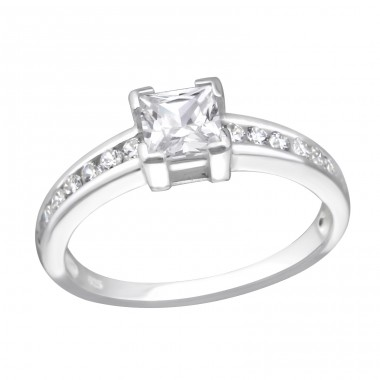 Square - 925 Sterling Silver Rings with Zirconia stones A4S27278