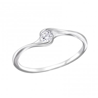 Twisted - 925 Sterling Silver Rings with Zirconia stones A4S29235