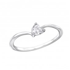 Heart - 925 Sterling Silver Rings with Zirconia stones A4S29236