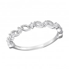 Patterned - 925 Sterling Silver Rings with Zirconia stones A4S29237
